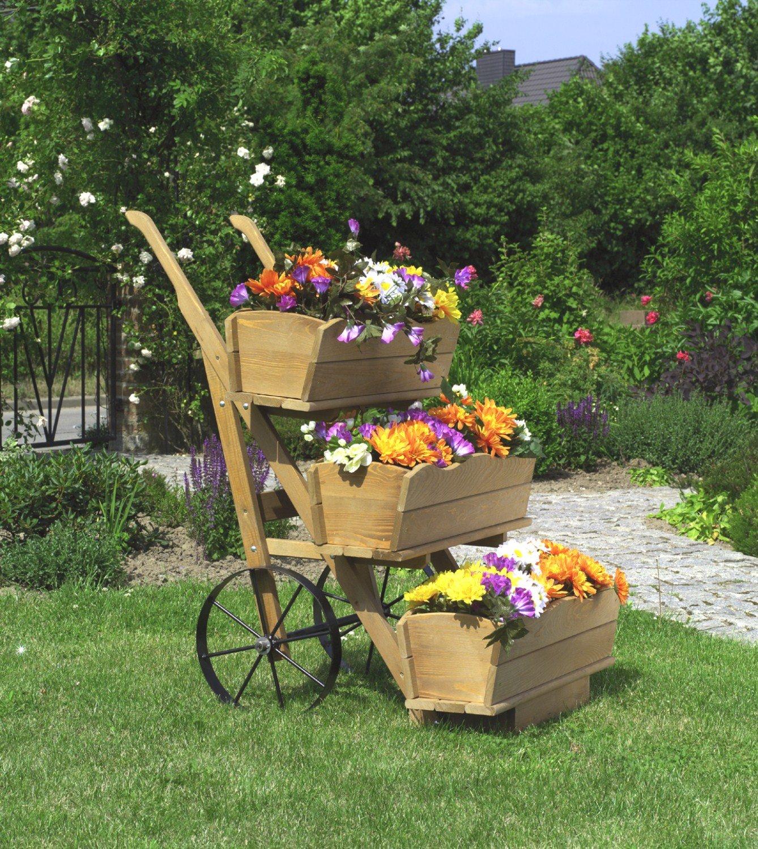 Promadino Blumenkarre mit 3er Set Blumenkästen