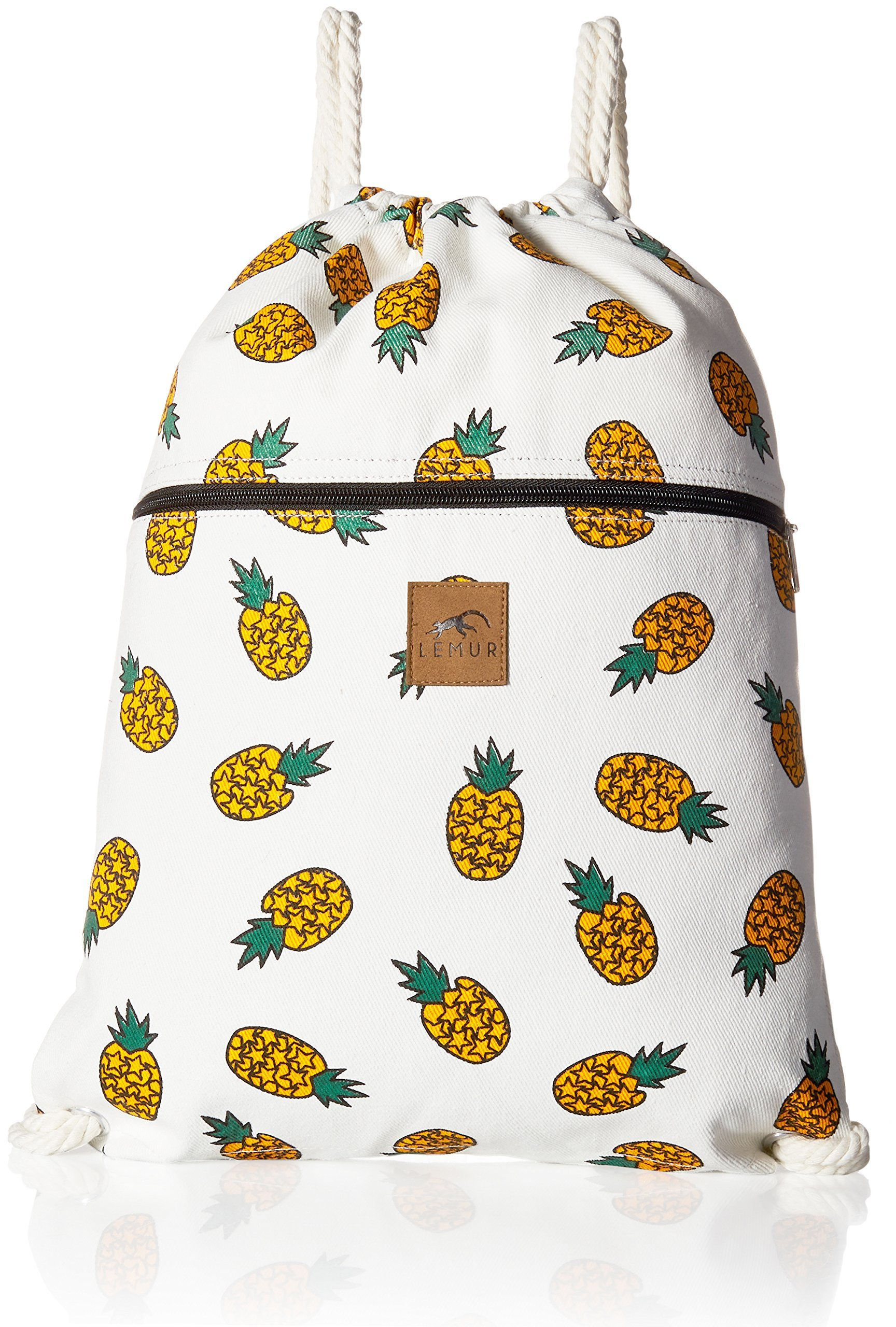 """Lemur Bags Canvas Drawstring Backpack with Front Zipper Pocket - Large 19'' x 13"""" Gym, School, Travel Day Bag - Thick Durable 100% Natural Canvas Material with Soft Cotton Strings (Pineapples)"""