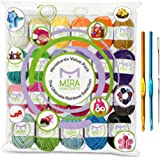 Premium Value Yarn Pack - 24 Acrylic Yarn Skeins - Assorted Colors - Perfect for Any Crochet and Knitting Mini Project - Resealable Bag - 7 GIFTS with Each Pack