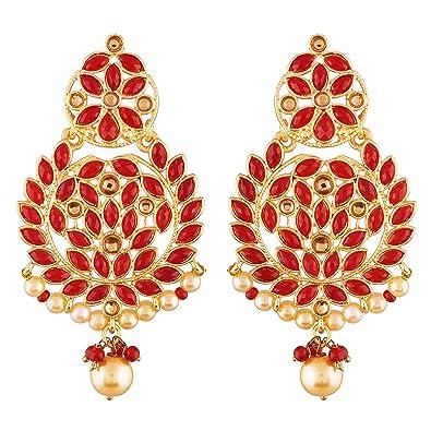 Buy I Jewels Gold Plated Kundan Chandbali Earrings For Women E2460r