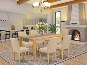 """East West Furniture 7Pc Rectangle 60"""" Dining Table And 6 Parson Chair With Oak Leg And Linen Fabric Light Fawn, 7"""