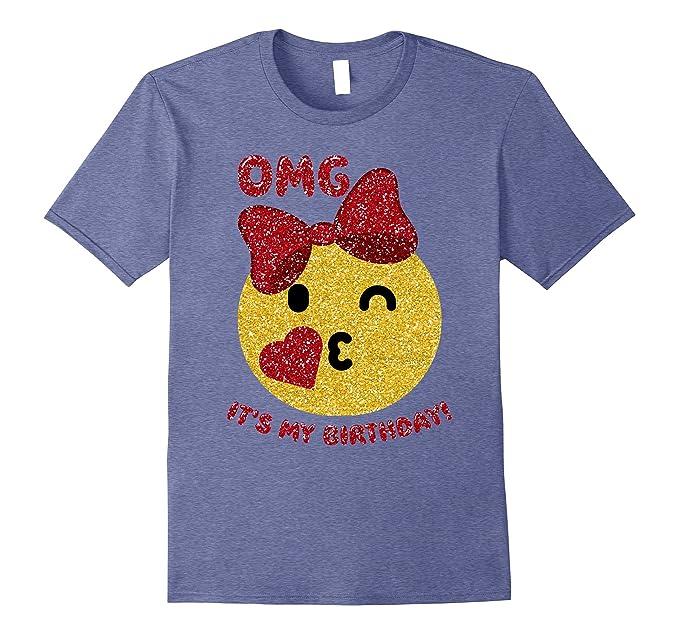 Mens OMG Its My Birthday Glittery Red Emoji Kiss Heart T Shirt 2XL Heather Blue
