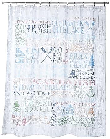 Amazon Avanti Linens HMUL Lake Words Shower Curtain