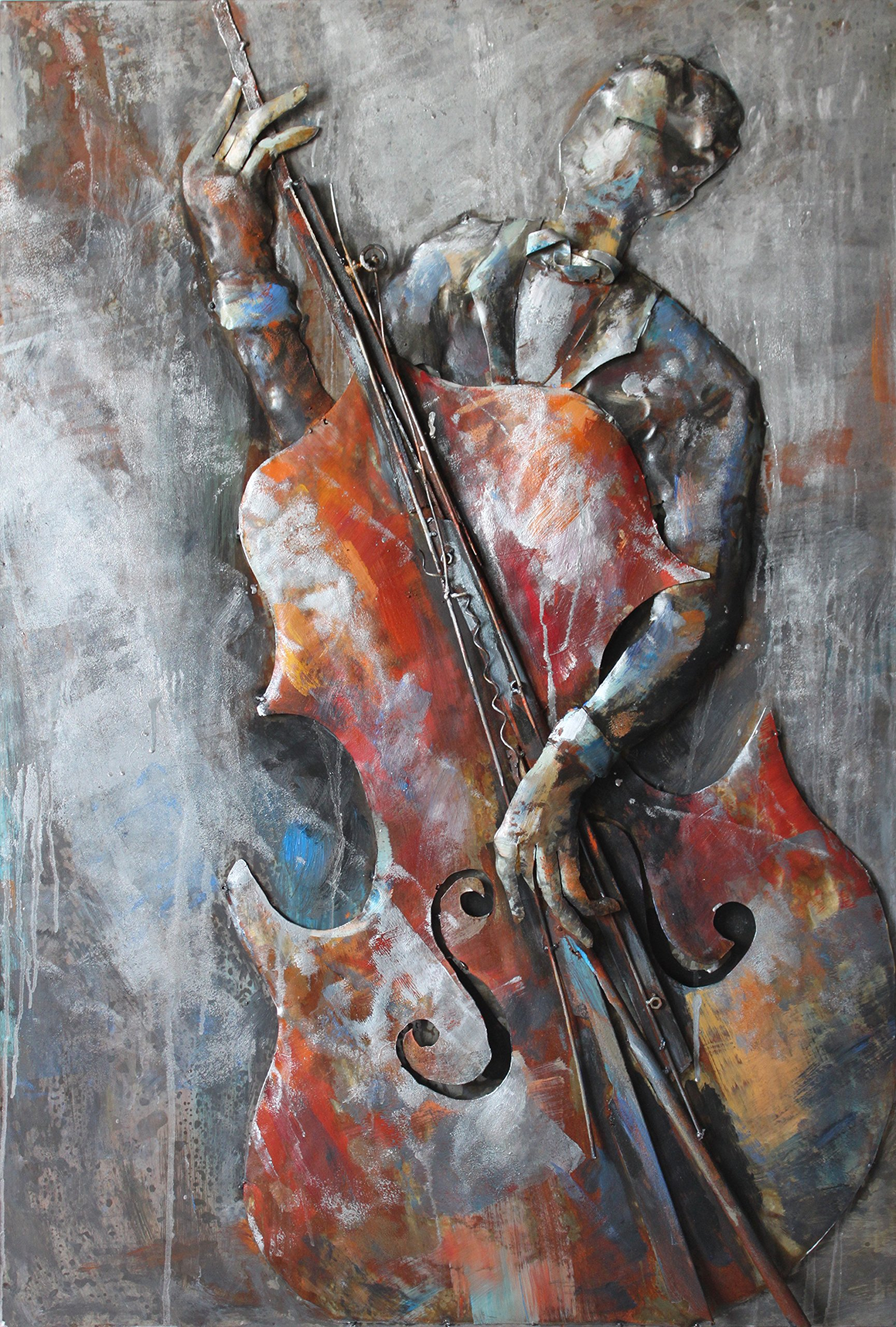 Empire Art Direct ''The Bassist'' Mixed Media Hand Painted Iron Wall Sculpture by Primo by Empire Art Direct