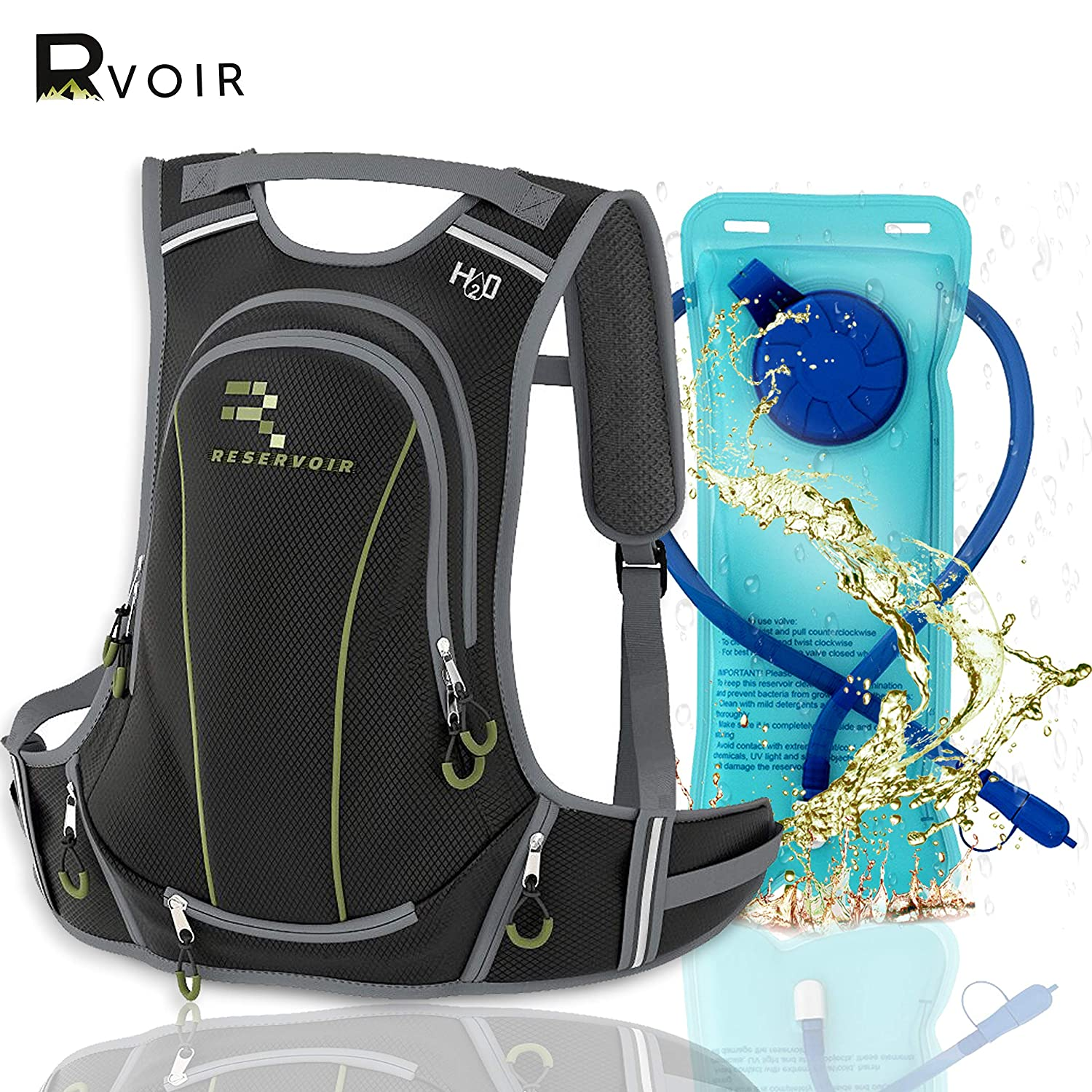 RVOIR Gear Insulated Hydration Backpack -Hiking Backpack With Water Bladder Leak Proof 2L BPA FREE Insulated Backpack Cooler Keeps Cool 4 Hours Durable Hydration Pack For Hiking, Running, Cycling