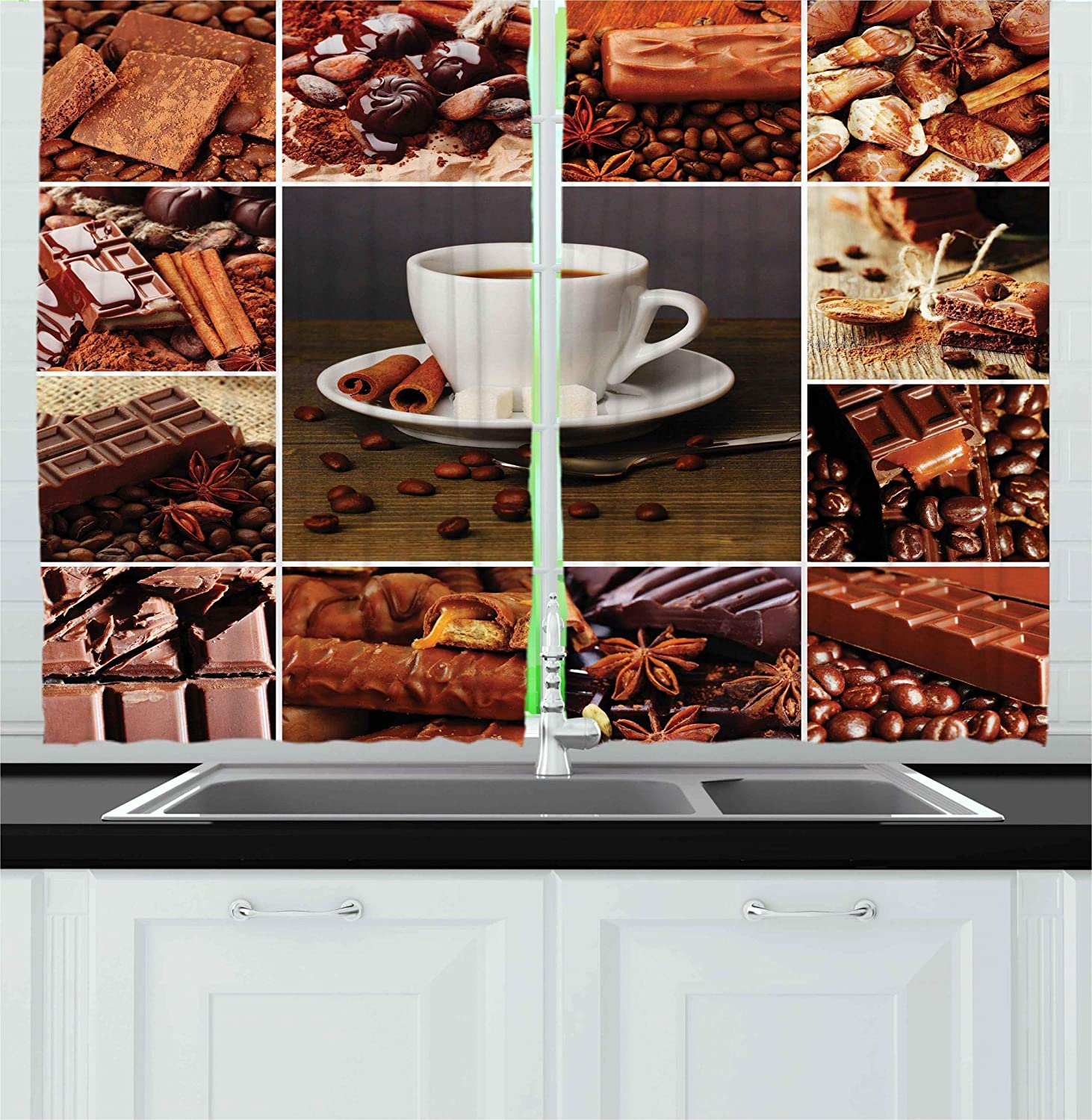 Ambesonne Brown Kitchen Curtains Coffee And Chocolate Themed Collage Mug Cinnamon Sweet Bars Cocoa Tasty Yummy Snacks Window Drapes 2 Panels Set For
