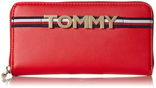 Tommy Hilfiger - Corporate Highlight Leather Za Wlt, Carteras Mujer, Rojo (Tommy Red