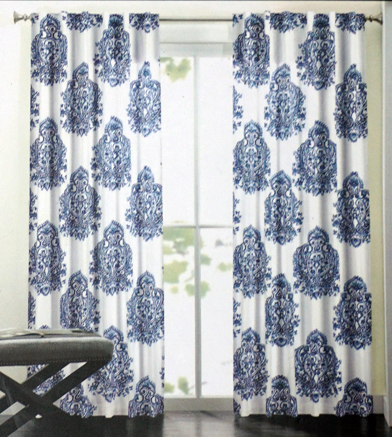 Amazon.com: Nicole Miller Long Window Curtain Panels 52 Inches By 96 Inches  Set Of 2 Blue Medallion Pattern On White: Home U0026 Kitchen