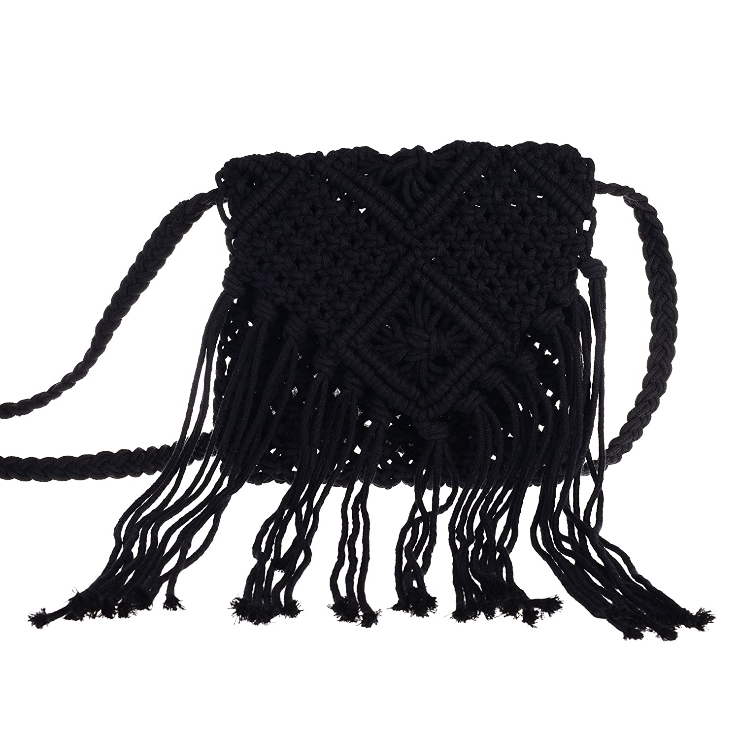 Vintage & Retro Handbags, Purses, Wallets, Bags I-MART Women Crochet Fringed Messenger Bags Tassels Cross Beach Bohemian Tassel Shoulder Bag $16.99 AT vintagedancer.com