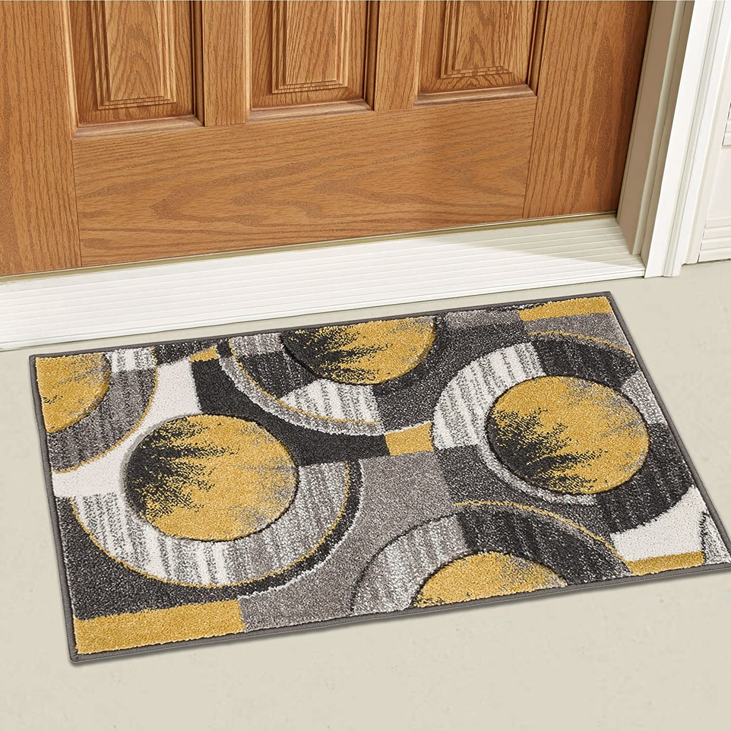 Well Woven Gold Yolo Modern Abstract Geometric 2' x 3' Mat Accent Area Rug