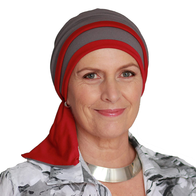 Elegante pañuelo Helene reversible color gris y frambuesa sin costuras visibles.
