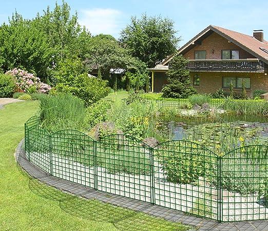 Valla metálica para estanque - Set para exteriores con arcos superiores (375 x 79/64 cm, 11 piezas), color antracita: Amazon.es: Jardín