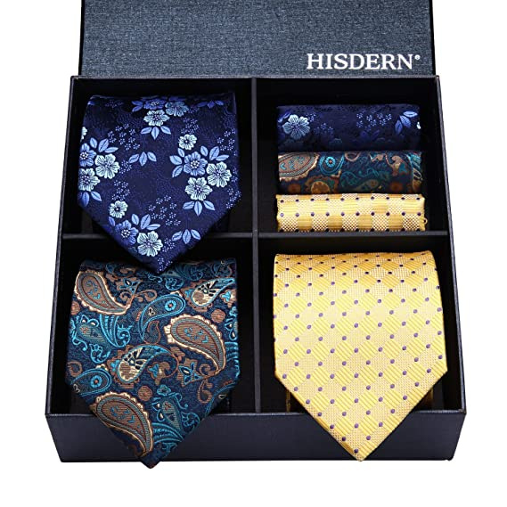 HISDERN Lot 3 PCS Classic Men's Silk Tie