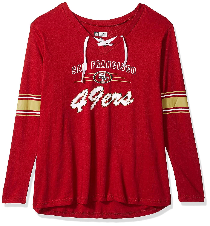 Amazon.com   NFL San Francisco 49ers Women L S JERSEY V NECK TEE ... 7d0aee65c