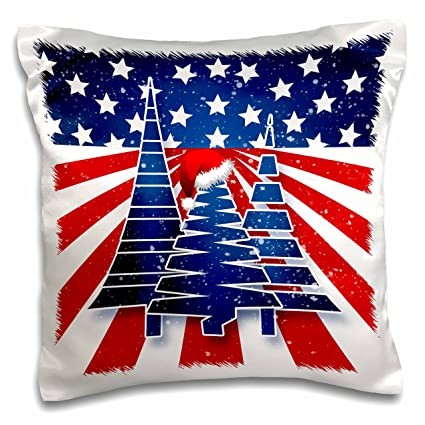 0ab2d6c7da2b3 Image Unavailable. Image not available for. Color  3D Rose Stars and Stripes  Christmas Trees with Santa Hat in Red ...