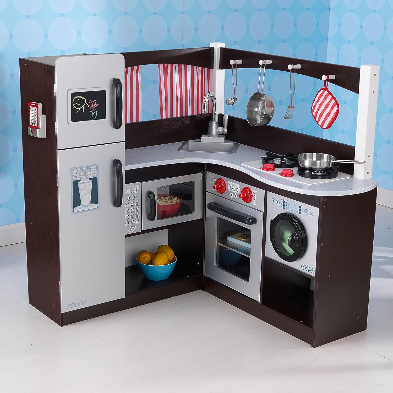 amazon com kidkraft grand espresso corner kitchen toys games rh amazon com Kidkraft Espresso Toddler Play Kitchen KidKraft Espresso Kitchen Sale