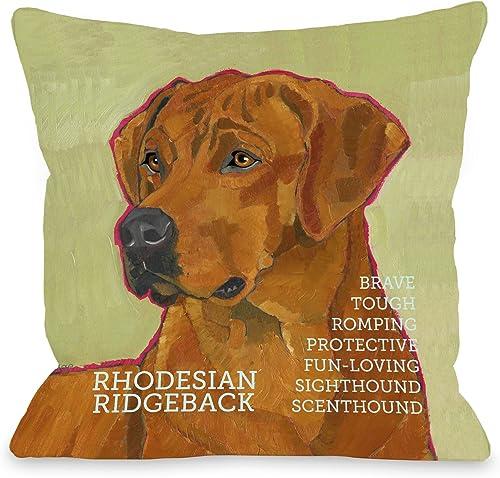 One Bella Casa Rhodesian Ridgeback 1 Pillow for Pets, 20 by 20-Inch