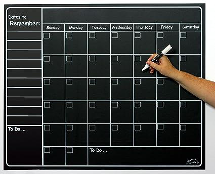 Large Chalkboard Sticker Calendar Wall Organizer Decal   Vinyl Waterproof  Removable   Weekly U0026 Monthly Organizer