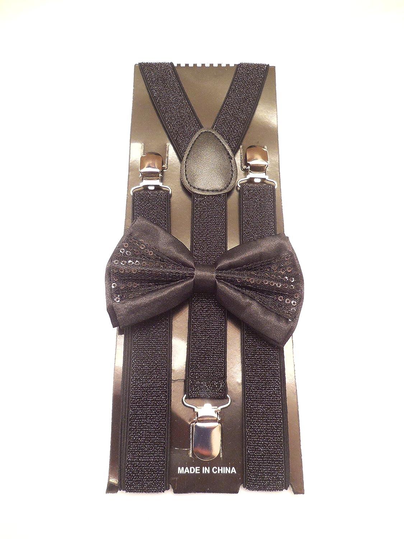 Black Sequin Bowtie and Suspenders