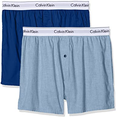 3318a5db497d Calvin Klein Men's 2p Slim Fit Boxer Shorts, (Chambray Heather/Estate Blue  Gva