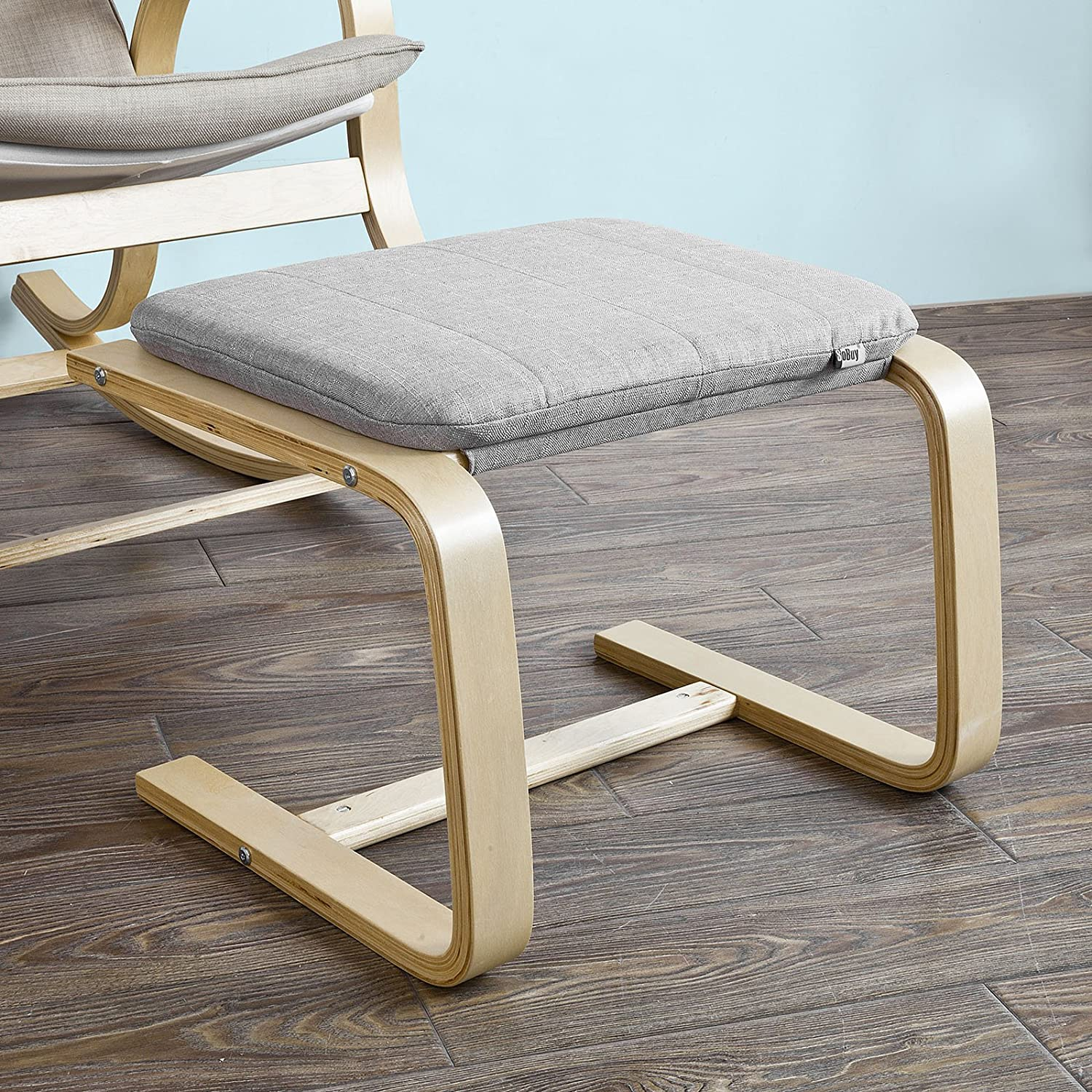 Haotian SoBuy FST38-HG, Beech Wood Footstool Footrest with Cushion, Foot Leg Rest