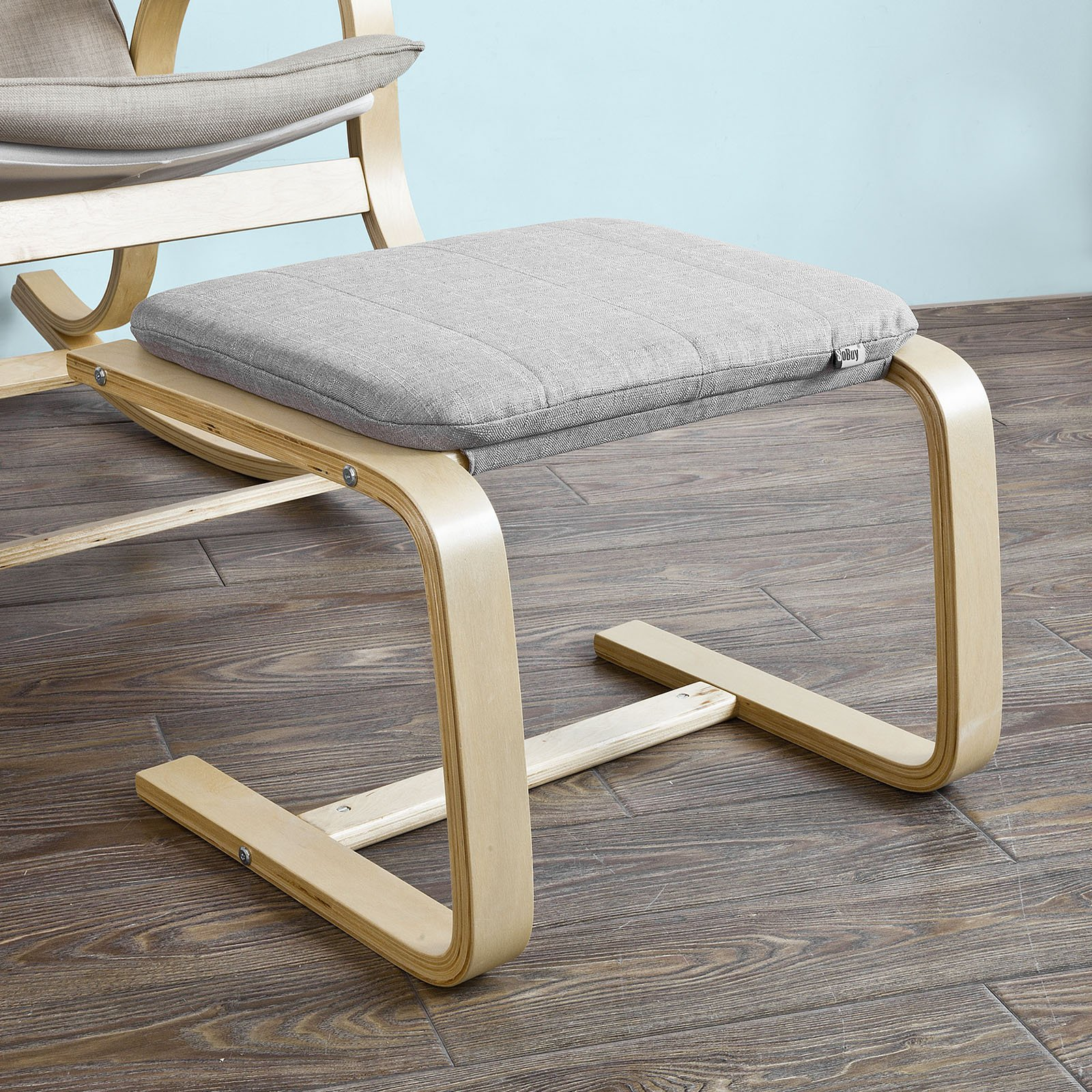 SoBuy FST38-HG, Beech Wood Footstool Footrest with Cushion, Foot Leg Rest