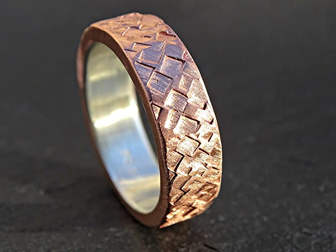 Amazon.com: mixed metal wedding ring copper silver, bold copper ring ...