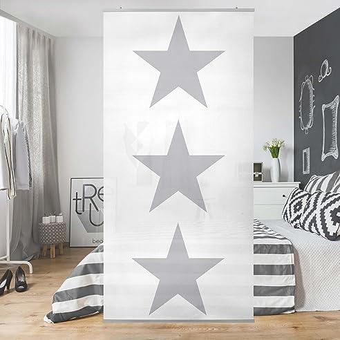 Flächenvorhang Set NoYK Stern Weiß Sterne Weiß Sternenhimmel - Schiebegardinen schlafzimmer