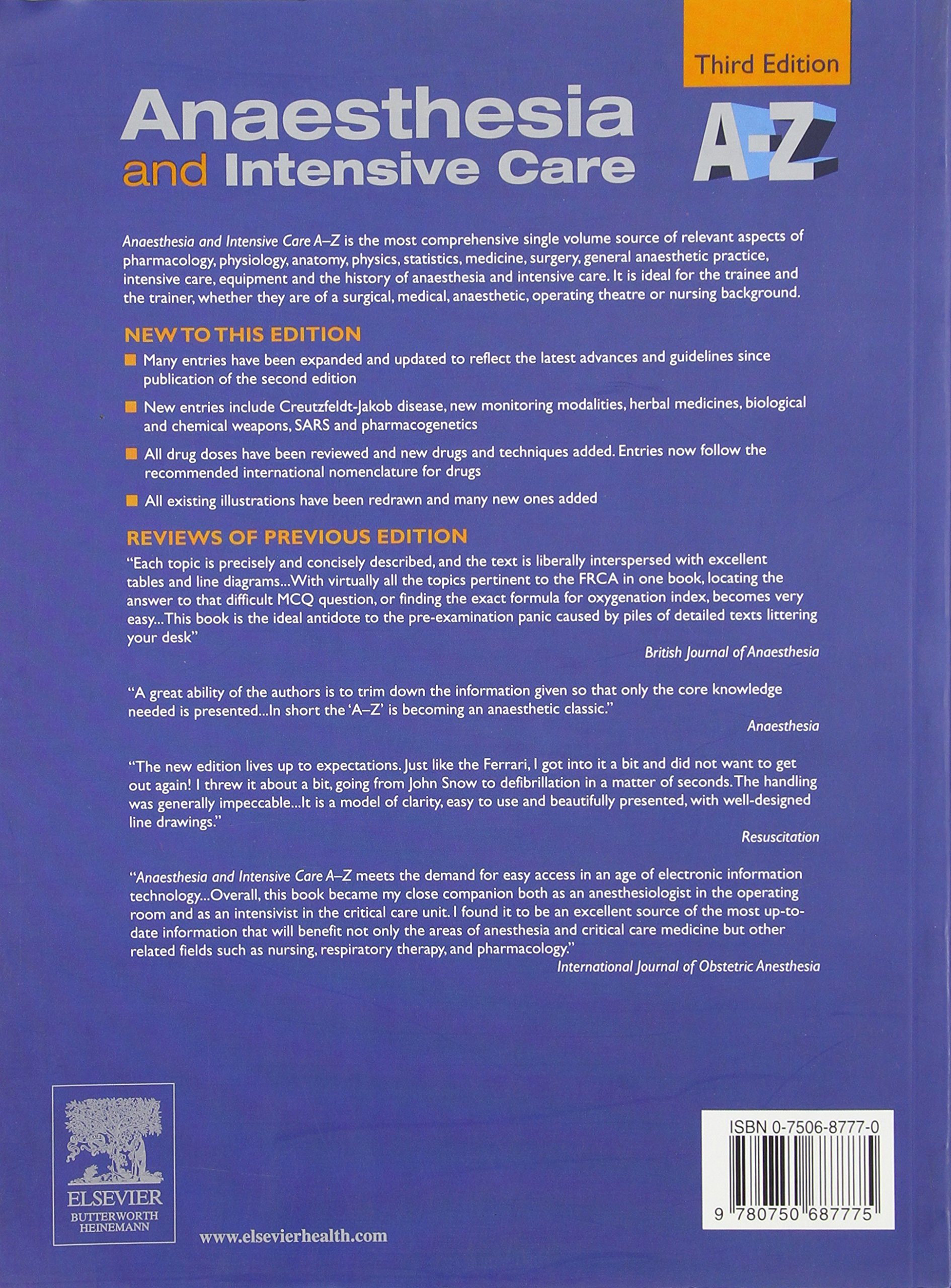 Buy Anaesthesia And Intensive Care A To Z An Encyclopaedia Of