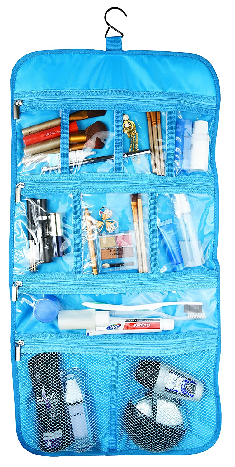 Premium Hanging Nylon Cosmetic Bag - Toiletry & Accessory Storage Organizer Bag (Aquamarine) Freegrace Premium Hanging Cosmetic Bag