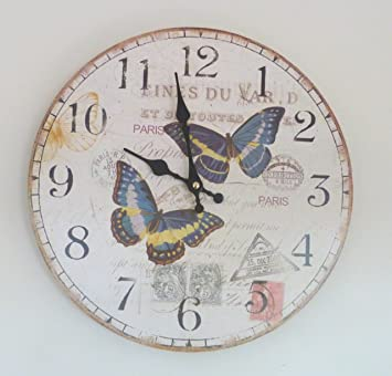 Butterfly Wall Clock Amazoncouk Kitchen Home