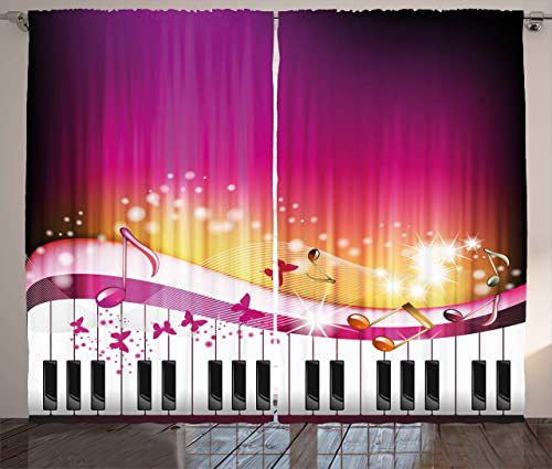 Ambesonne Abstract Curtains, Piano Keys with Butterflies Stars and Musical Notes Romantic Artwork, Living Room Bedroom Window Drapes 2 Panel Set, 108 X 63 , Hot Pink Yellow White
