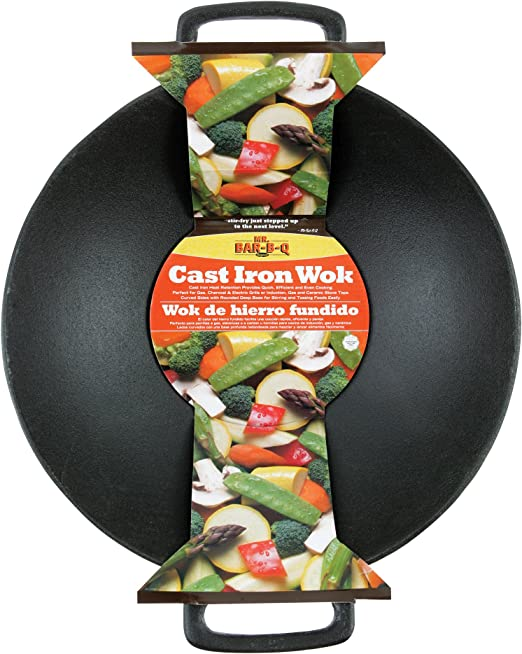 Amazon.com: Mr. Bar-B-Q 06106X. Wok de hierro fundido ...