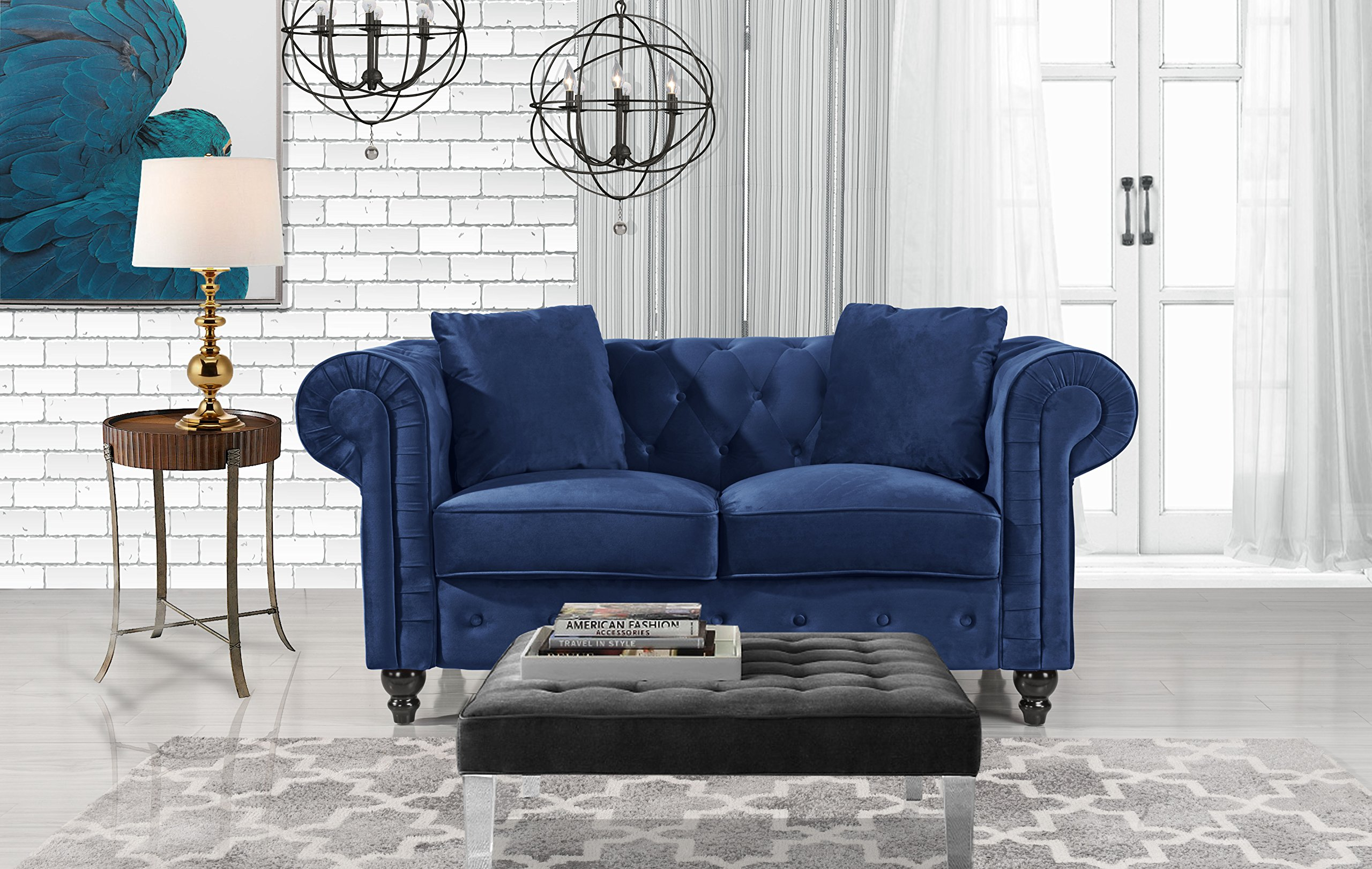 Furniture Classic Modern Scroll Arm Velvet Chesterfield Love Seat Sofa (Blue) - Ultra soft and comfortable chesterfield style love seat with tufted design for that classic and sophisticated look Premium velvet upholstery with overstuffed arms and back rests for comfort, tufted plush arm rests Removable seat cushions with velcro attached to avoid sliding, Victorian style wooden legs. - sofas-couches, living-room-furniture, living-room - 91isyLA8NFL -