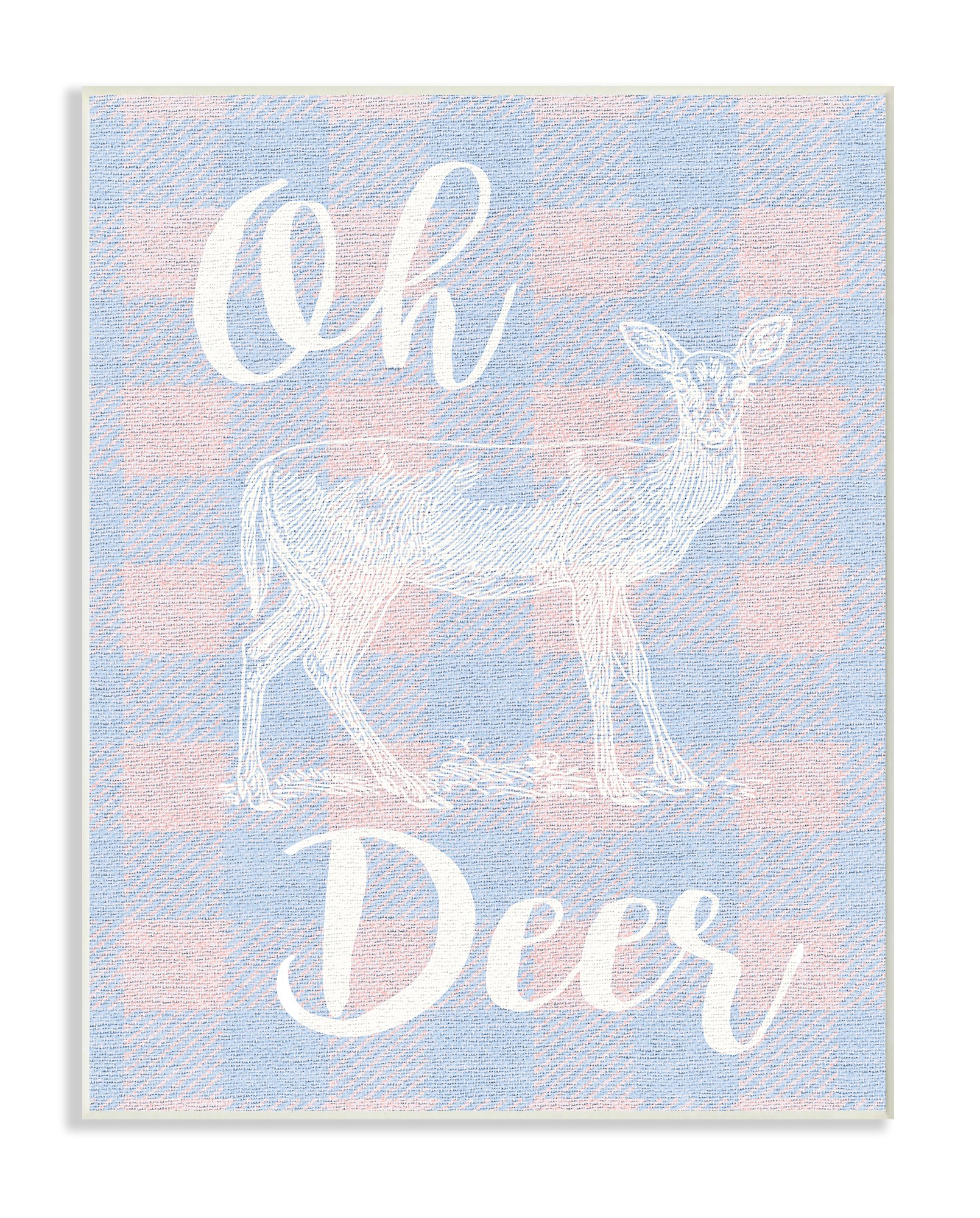 Stupell Industries Oh Deer White Stamp on Pink Plaid Wall Plaque Art, 10 x 0.5 x 15, Proudly Made in USA