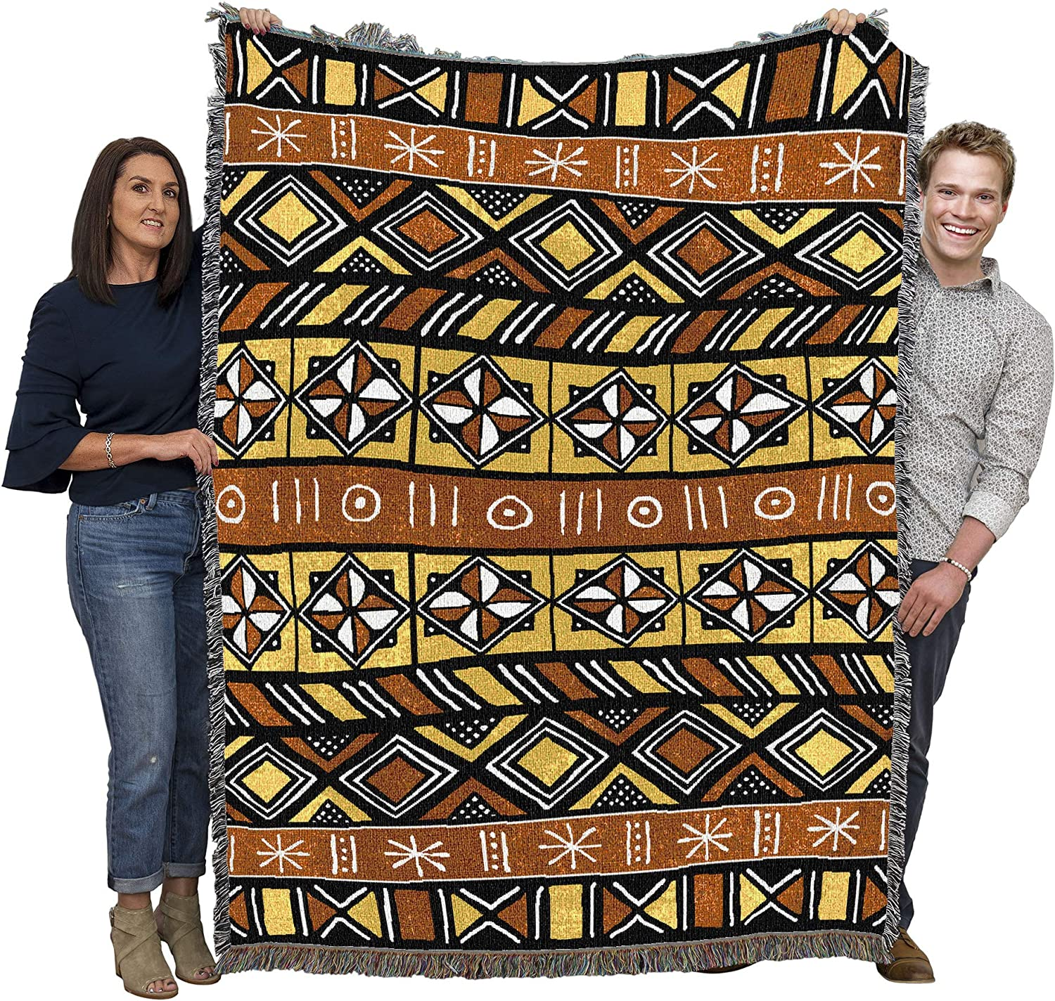 Pure Country Weavers Bogolan Mud Cloth African Blanket Throw Woven from Cotton - Made in The USA (72x54)