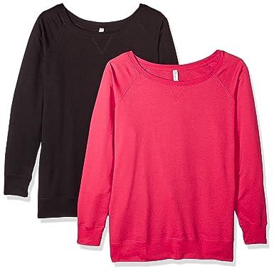 9c786b695103a Clementine Apparel Women s Ladies Curvy Plus Size Slouchy Pullover  Sweatshirt (2 Pack)