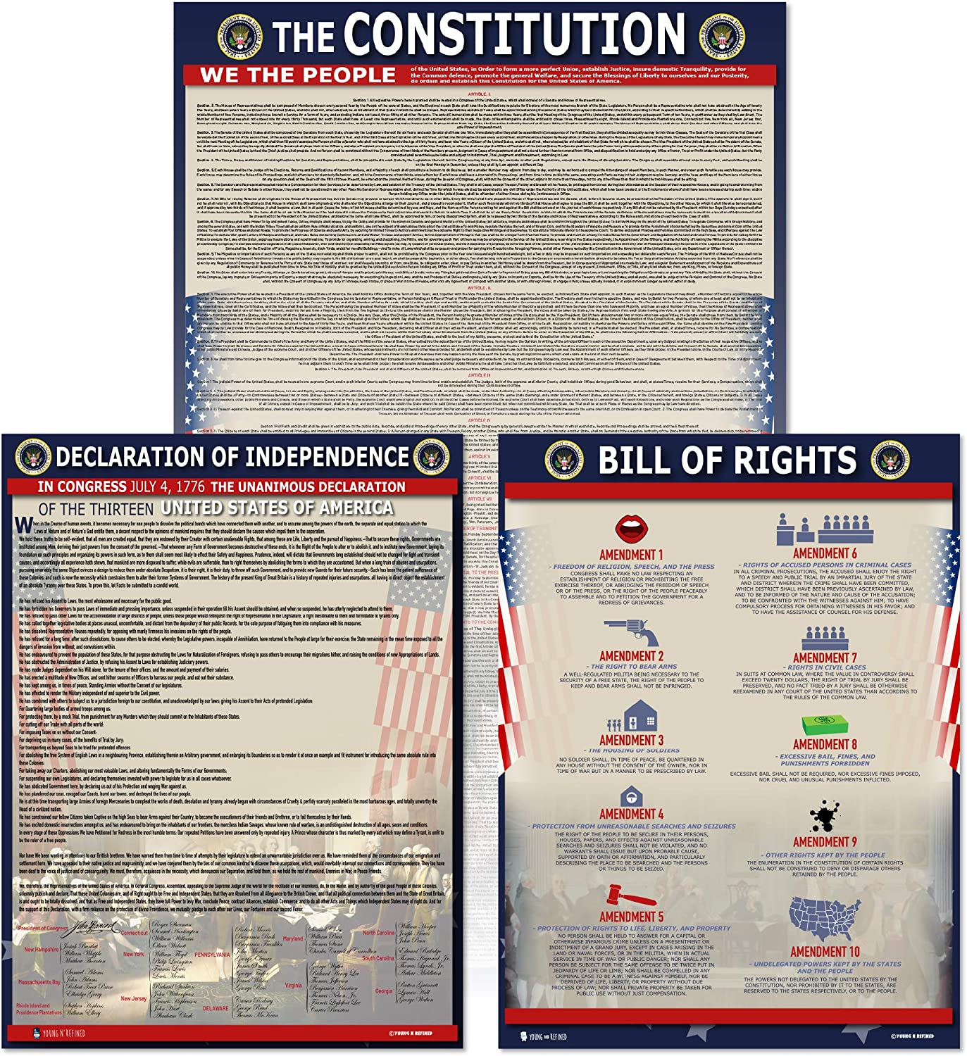 American Founding documents Laminated 3 pack: US Constitution, Declaration of Independence and Bill of Rights UPDATED FIXED Young N Refined