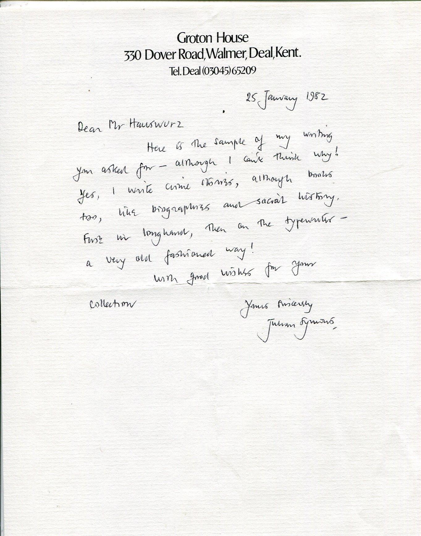Julian Symons autograph, British crime writer, handwritten letter