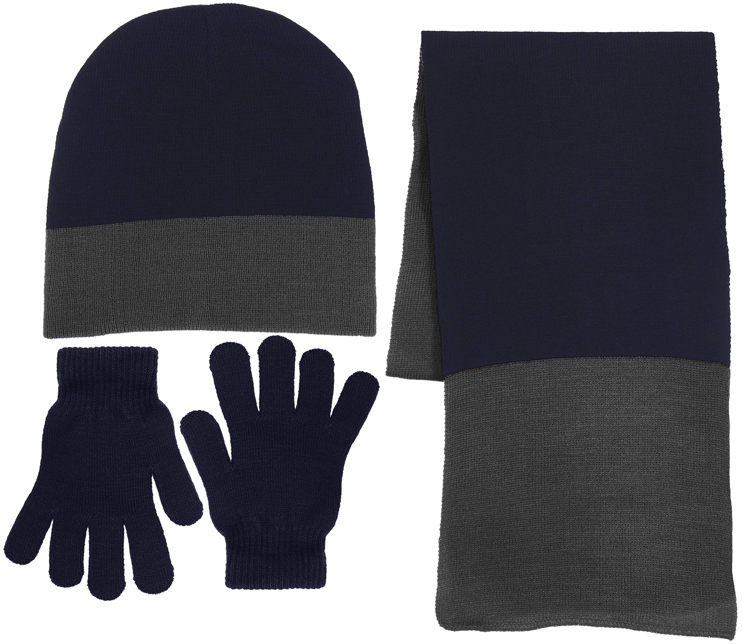 Boys 3 Piece Knit Hat, Scarf & Gloves Winter Accessories Set (Navy Blue & Gray)