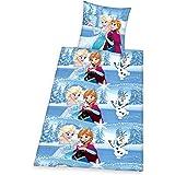 Herding 4680048050522 Bettwäsche Disney's Eiskönigin, Kopfkissenbezug 80 x 80 cm mit Bettbezug 135 x 200 cm, 100% Baumwolle, Flanell/Biber