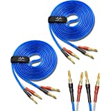 Wyvern [1Pair 8 Banana Plugs Total] HiFi Speaker Wire/Assembled (Banana to Banana Plugs) Blue (9.8ft PER Wire/ 3 Meters PER W