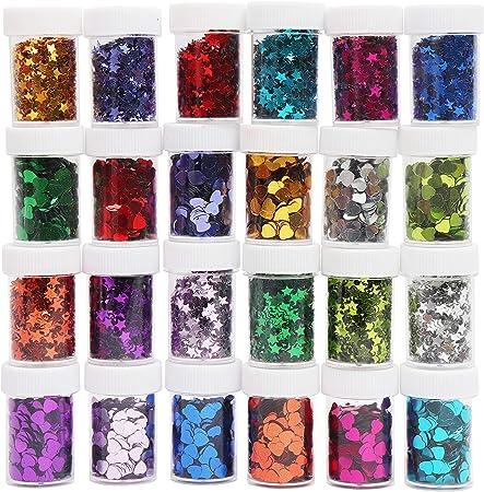 LISOPO 24pcs Glitzer Glitzerpulver Glitzerstreuer Glitter zum Basteln,