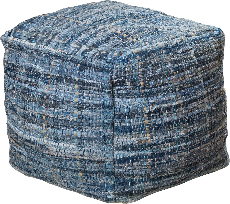Christopher Knight Home Harris Fabric Pouf, Denim