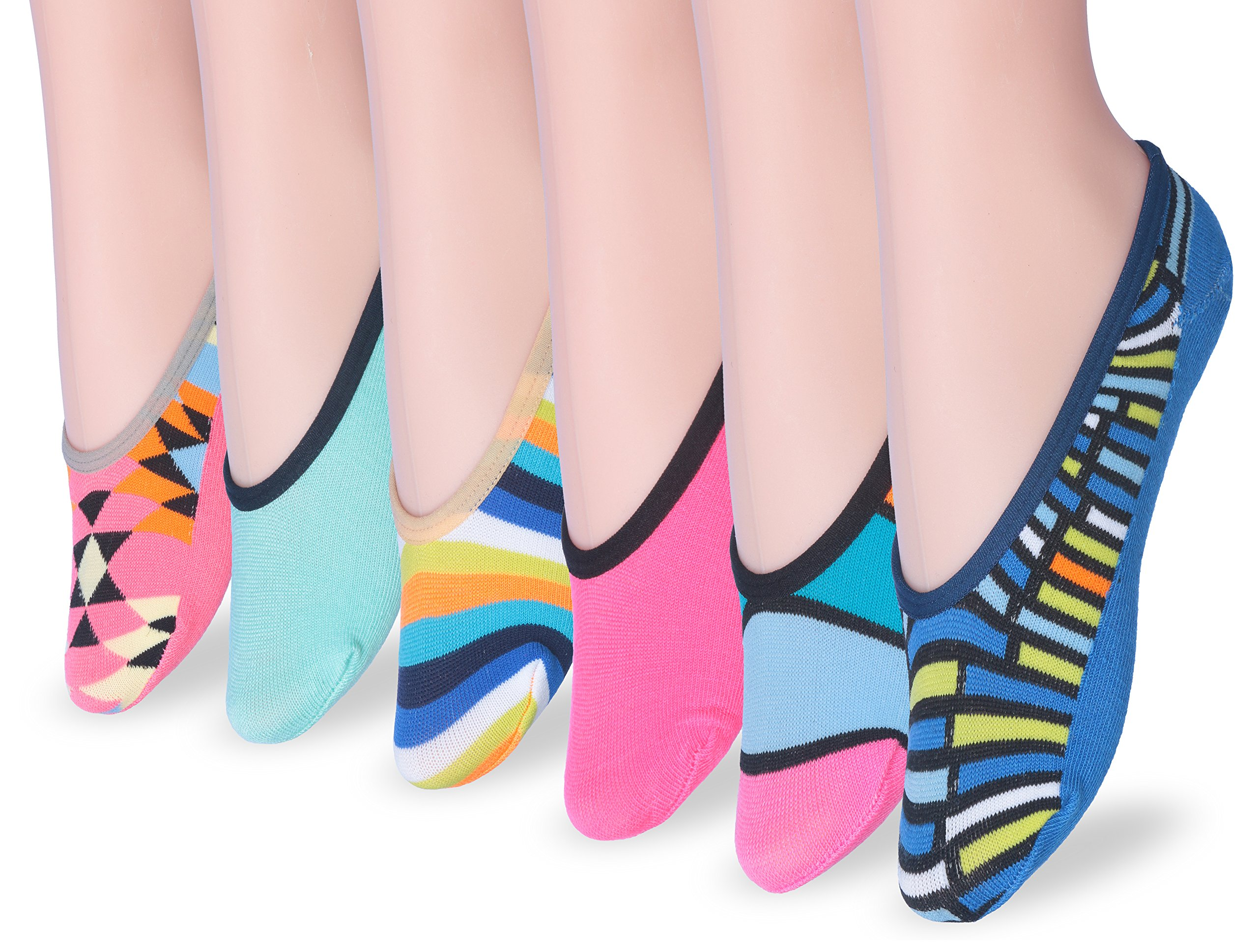 Tipi Toe Women's Colorful Patterned No-Show Low-Cut Sock Foot Liners (10 or 12 Pairs) (PED102-12)