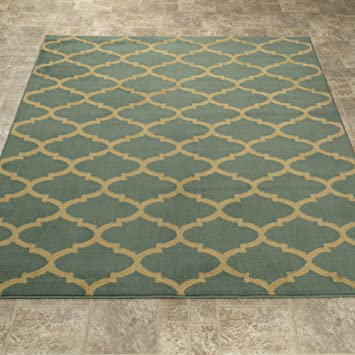 Ottomanson Royal Collection Trellis Teal Contemporary Moroccan Trellis  Design Area Rug, 5u00273u0026quot;