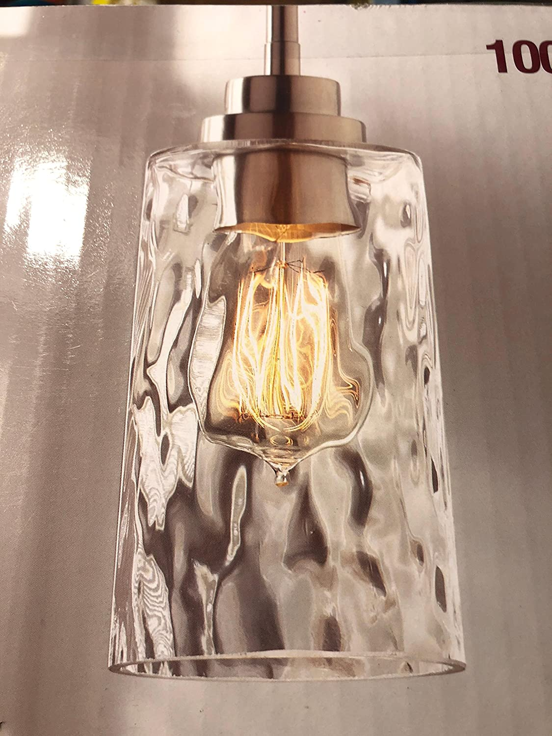 Home Decorators Collection 1-Light Brushed Nickel Mini-Pendant with Clear Hammered Glass