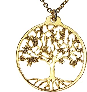 """product image for From War to Peace Delicate Tree of Life Gold-Dipped Pendant Necklace on 18"""" Rolo Chain"""