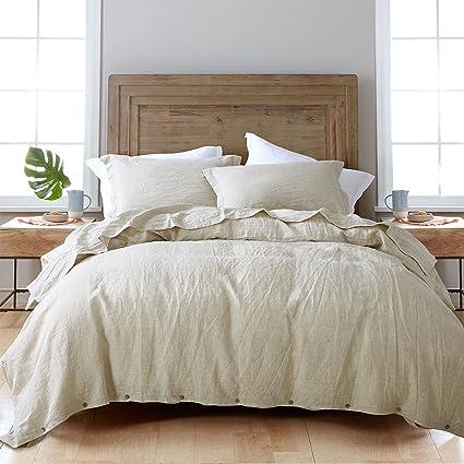 ESASILK 3 Pieces/Lot Linen Duvet Cover Set Linen Bedding Sets 100% Pure  French