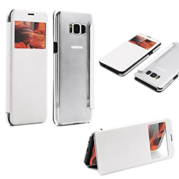 Funda Samsung Galaxy S8 Plus View Case Blanco [ Carcasa Transparente Trasera + Ventana] Móvil Funda con Tapa Samsung Galaxy S8 Plus Smartphone